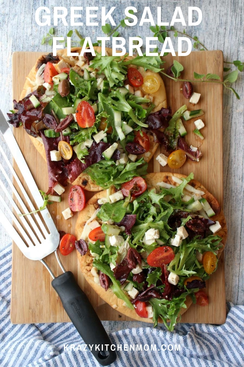 This is the best of both worlds - pizza and salad. A bright flavor-packed Greek salad on top of a flatbread covered in melted cheese and diced chicken. via @krazykitchenmom