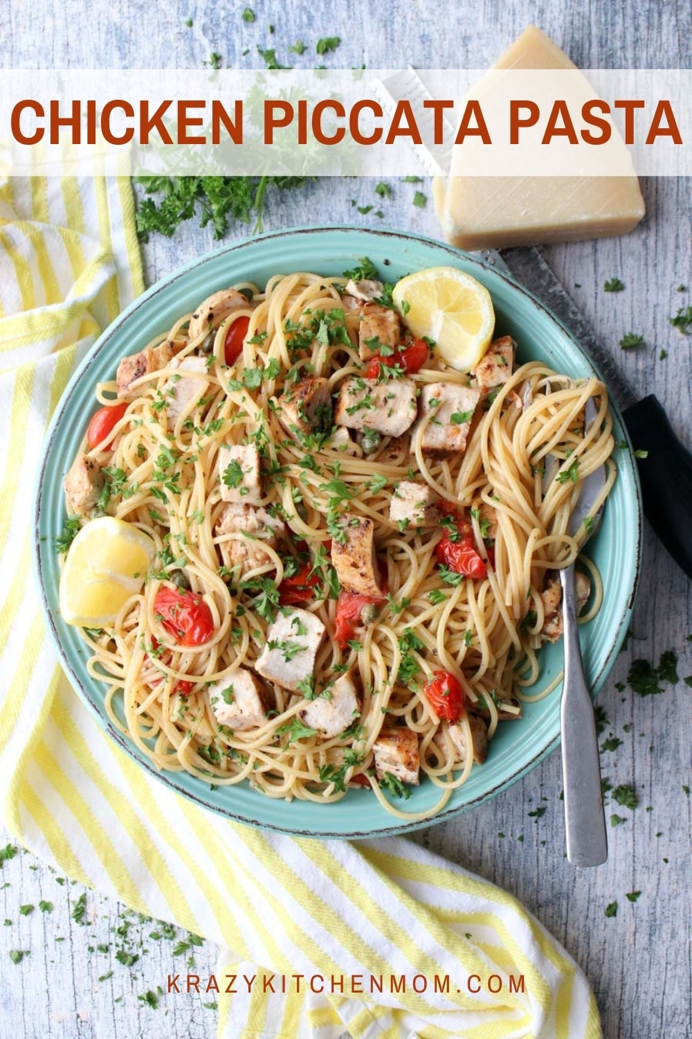 Dinner in 30 minutes! Buttery, lemony chicken piccata pasta is perfect for any weeknight with the family. Fast and delicious. via @krazykitchenmom