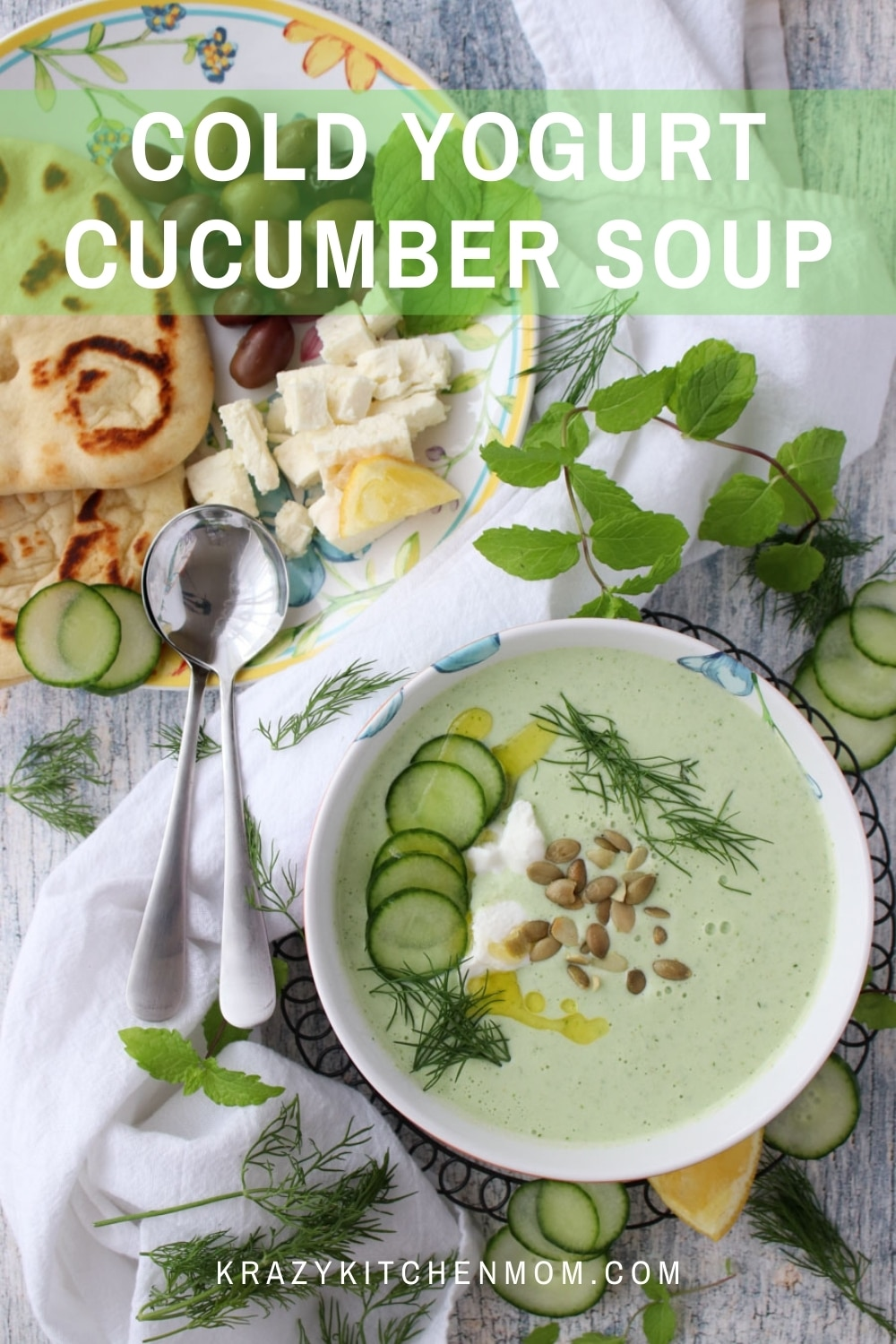 Who says you can't have soup in the summertime? This is soup is cold, fresh, and refreshing. It's ridiculously easy to make and ready in minutes.  via @krazykitchenmom