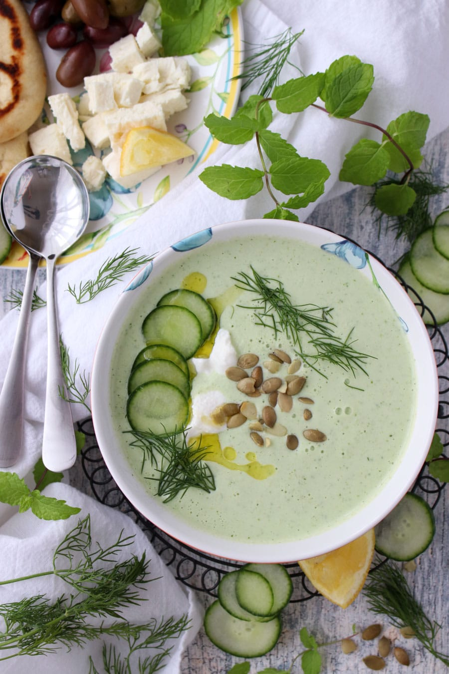 bowl of yogurt cucumber soup
