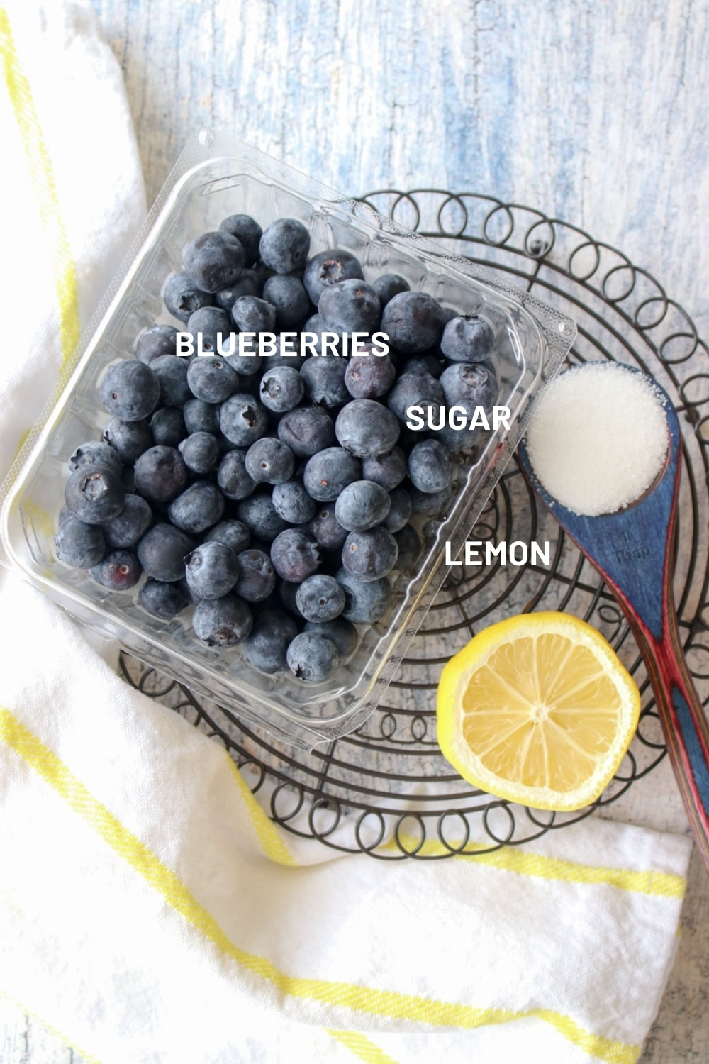 shot of the three ingredients needed to make blueberry sauce