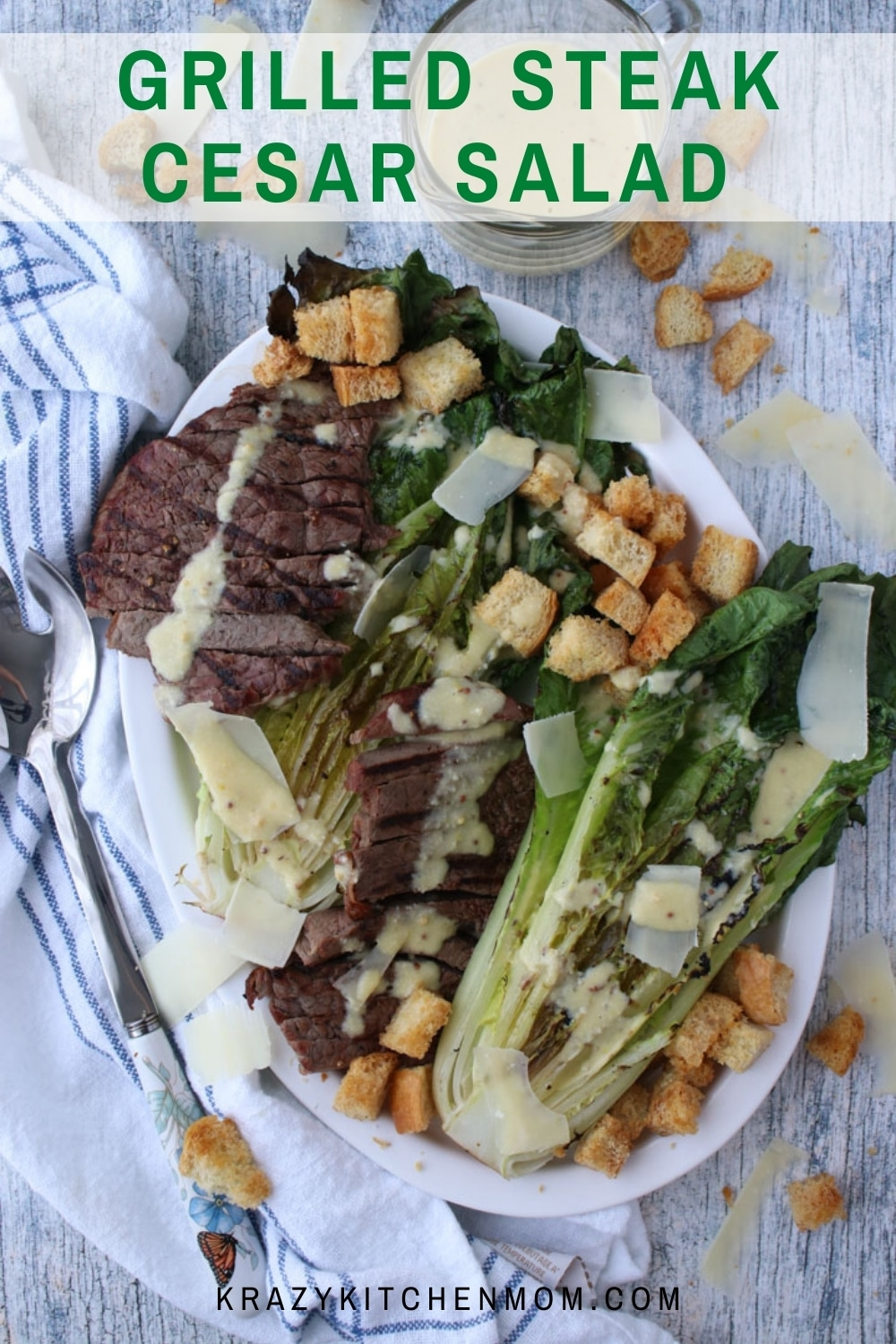 Turn a simple Cesar salad into an impressive dinner plater by using your BBQ grill or a simple stovetop grill pan.  via @krazykitchenmom