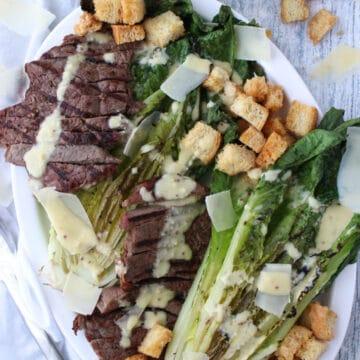 Steak Cesare Salad on a platter