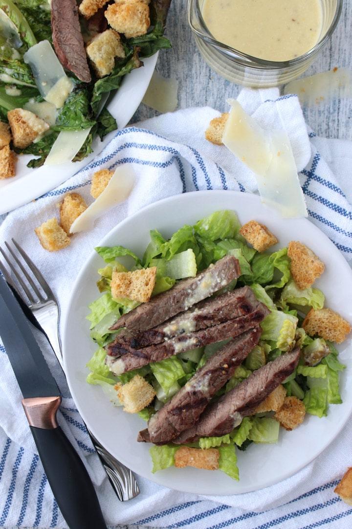 Steak Salad a round white plate