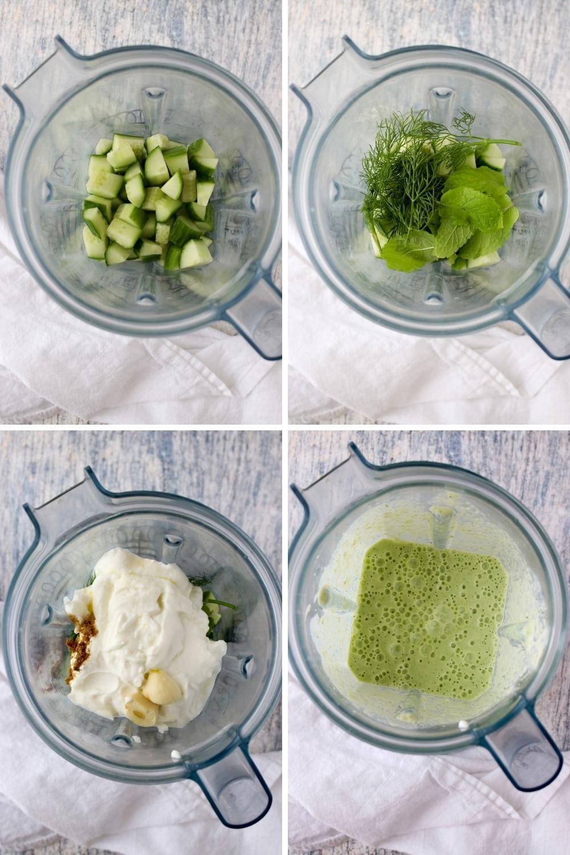 four photos showing how to make yogurt cucumber soup