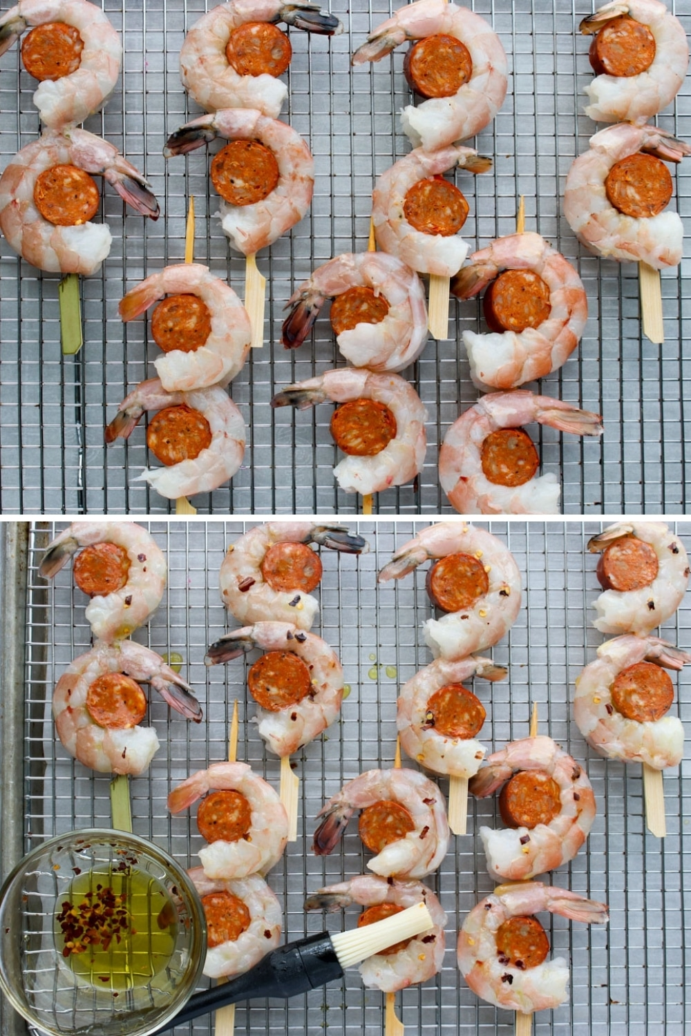 two photos showing how to make shrimp and chorizo skewers