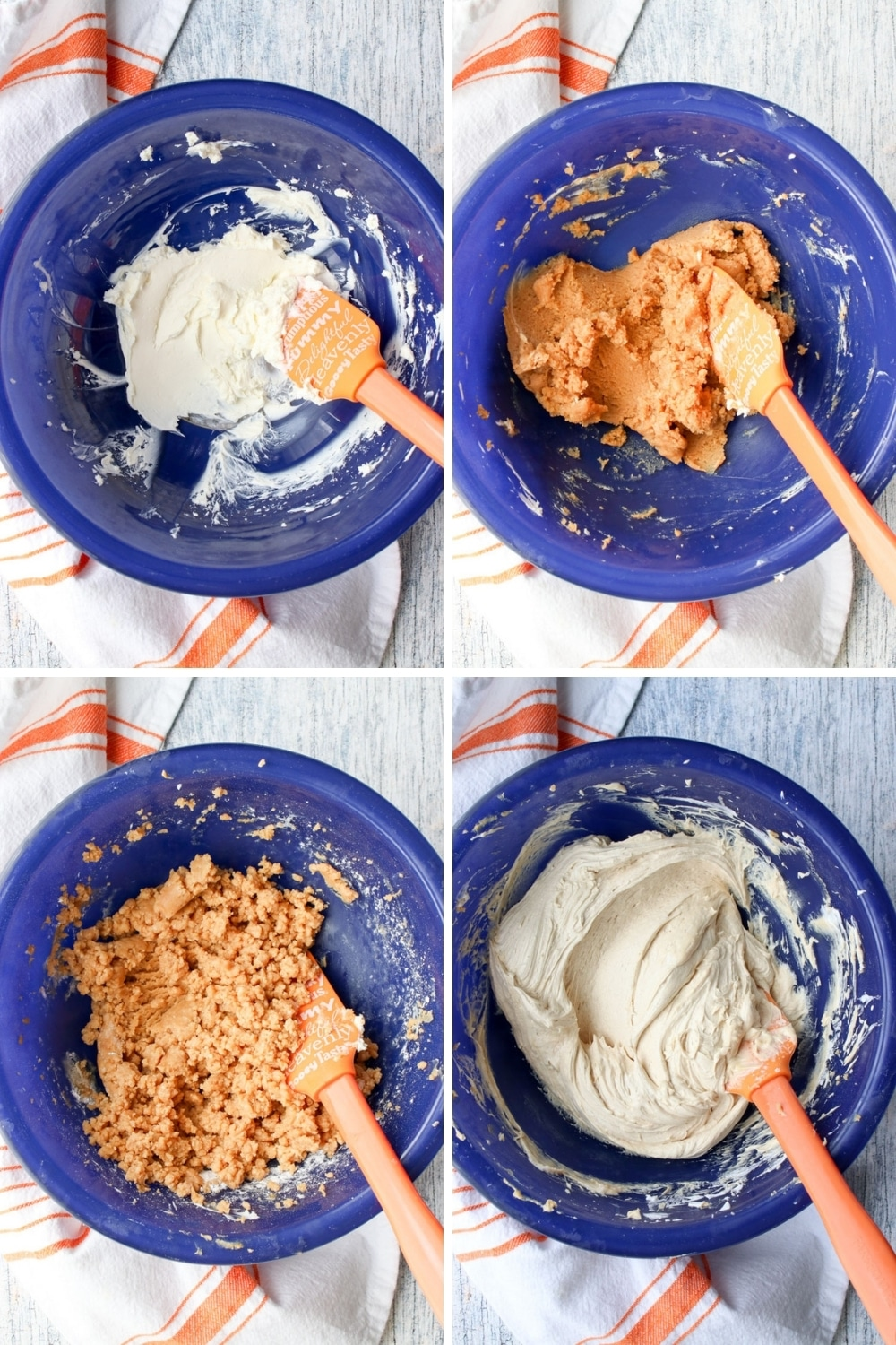 four photos showing how to make peanut butter pie filling