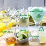 Ingredients for a margarita float
