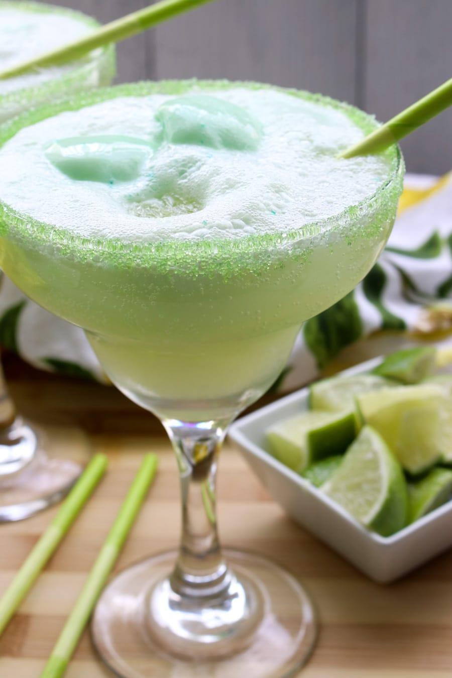 close up shot of an ice margarita