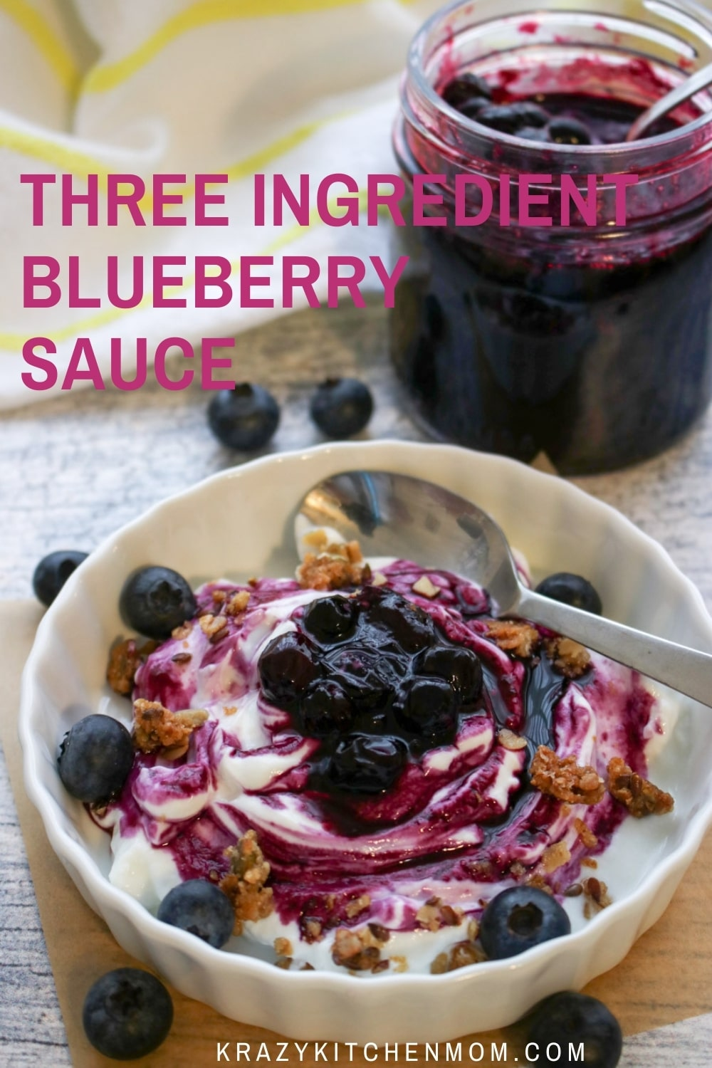 Sweet, juicy, tangy blueberries cooked down to make your new favorite sauce. Pour it over pancakes, waffles, yogurt, or ice cream.  via @krazykitchenmom