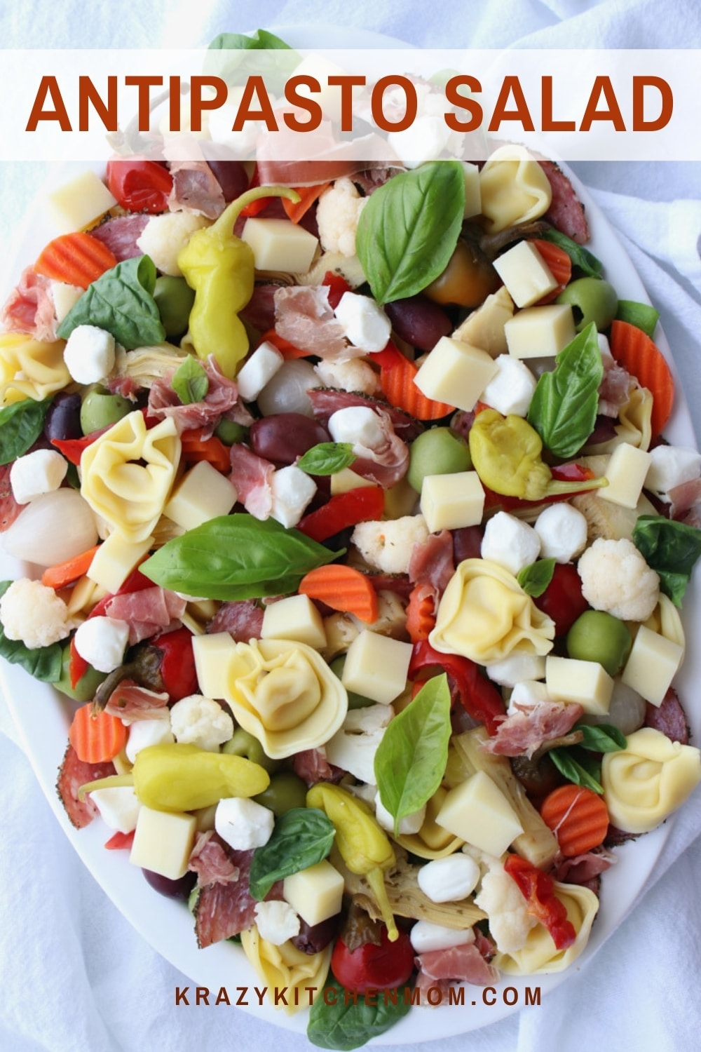 There is something for everyone on this Italian-style salad platter. It's loaded with vegetables, meats, and cheeses. via @krazykitchenmom