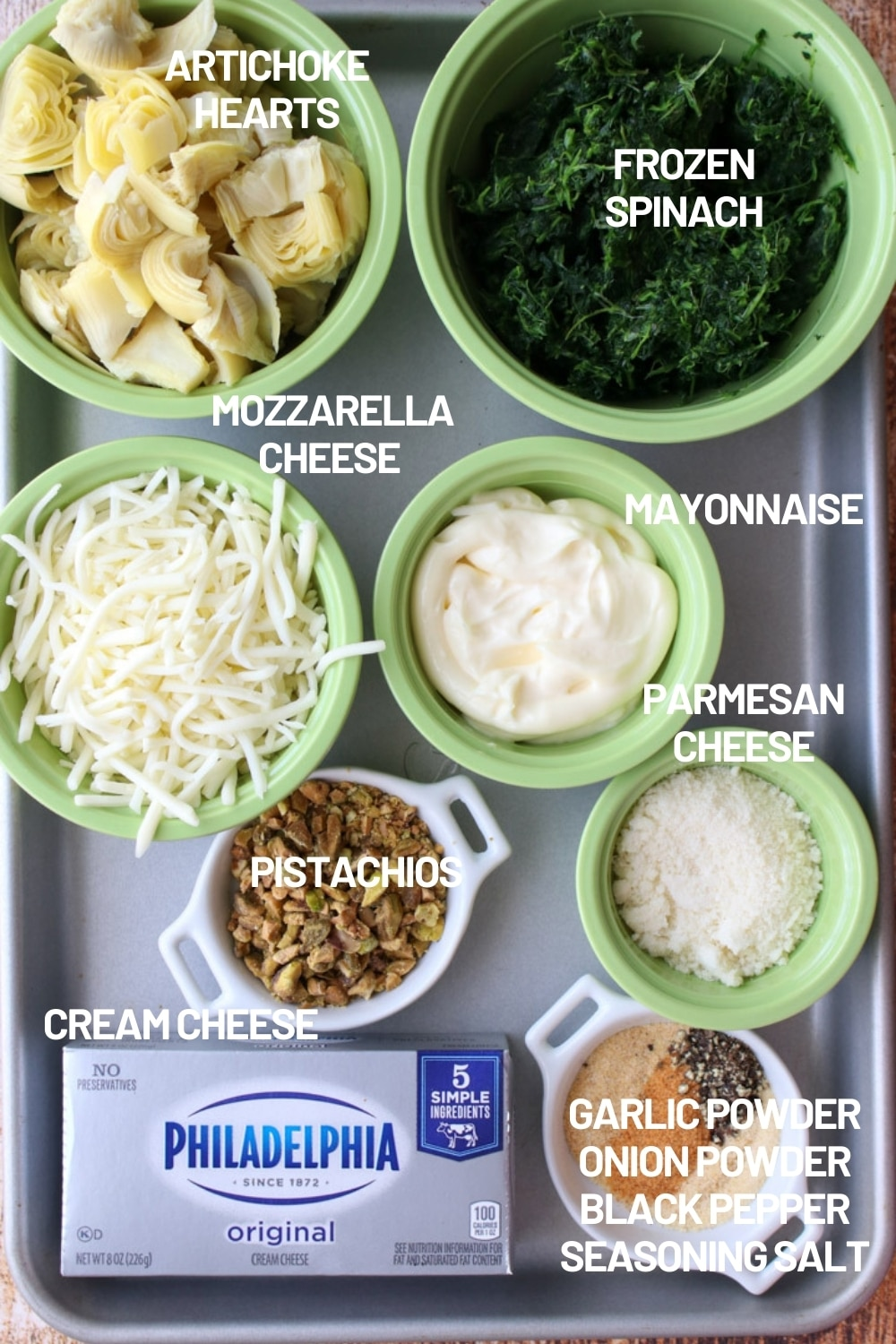 ingredients to make 3 cheese artichoke spinach dip