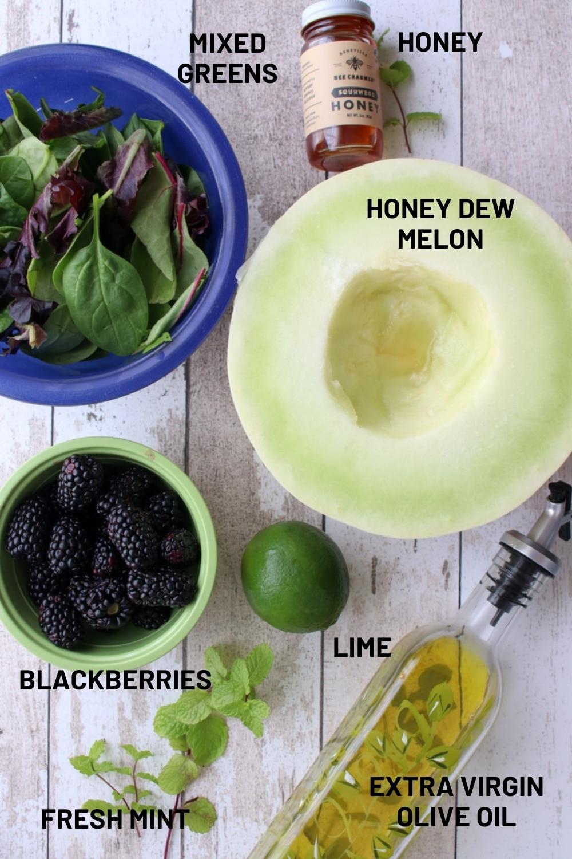 ingredients to make blackberry melon salad