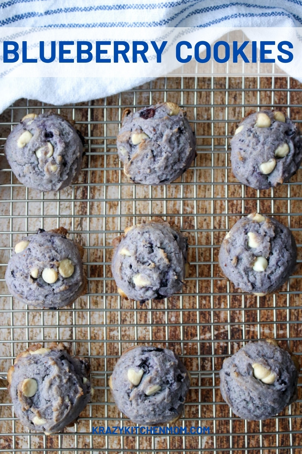 These Blueberry Cookies have gone viral on social media giant TikTok. People can't stop talking about them and for good reason. They are delicious! via @krazykitchenmom