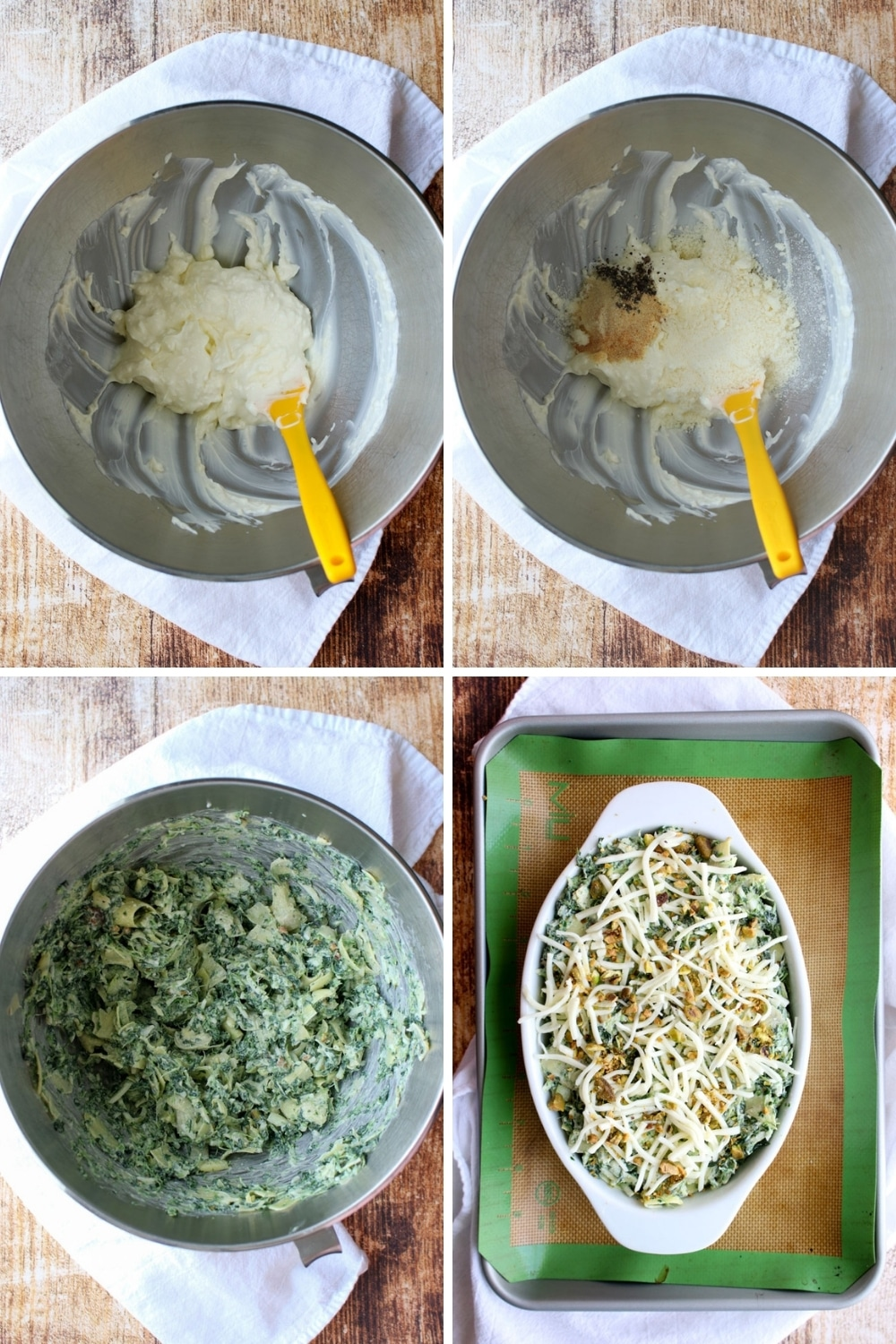 collage of how to make spinach artichoke dip