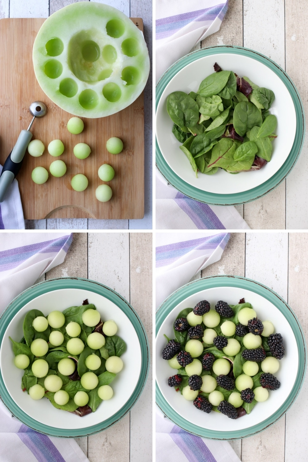 collage showing how to make blackberry melon salad