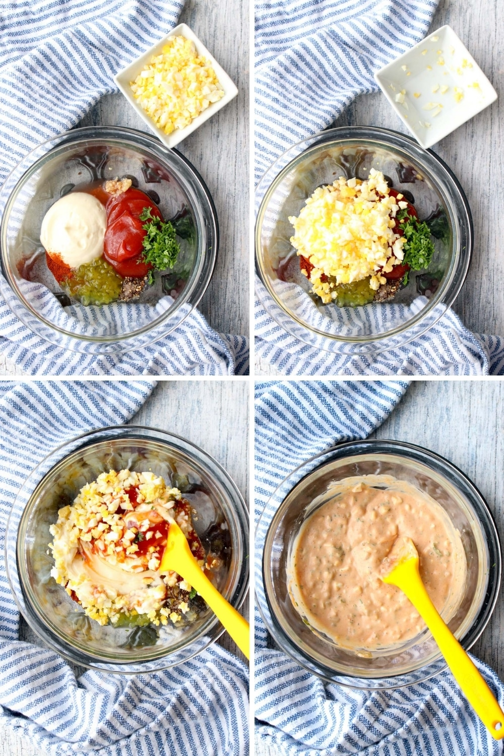 Steps showing how to make thousand island salad dressing