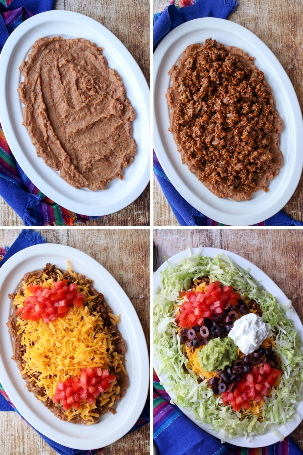 photos showing how to assemble a taco dip platter
