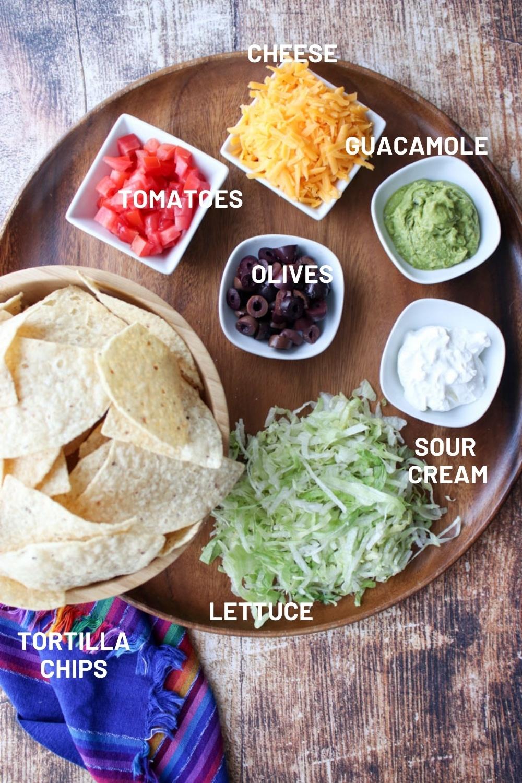Taco platter toppings