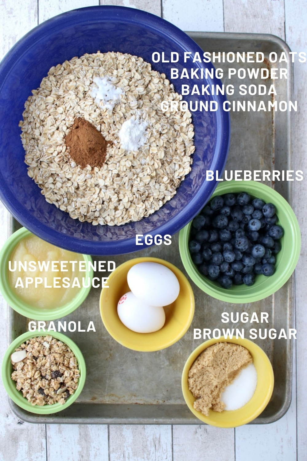 ingredients to make baked blueberry oatmeal