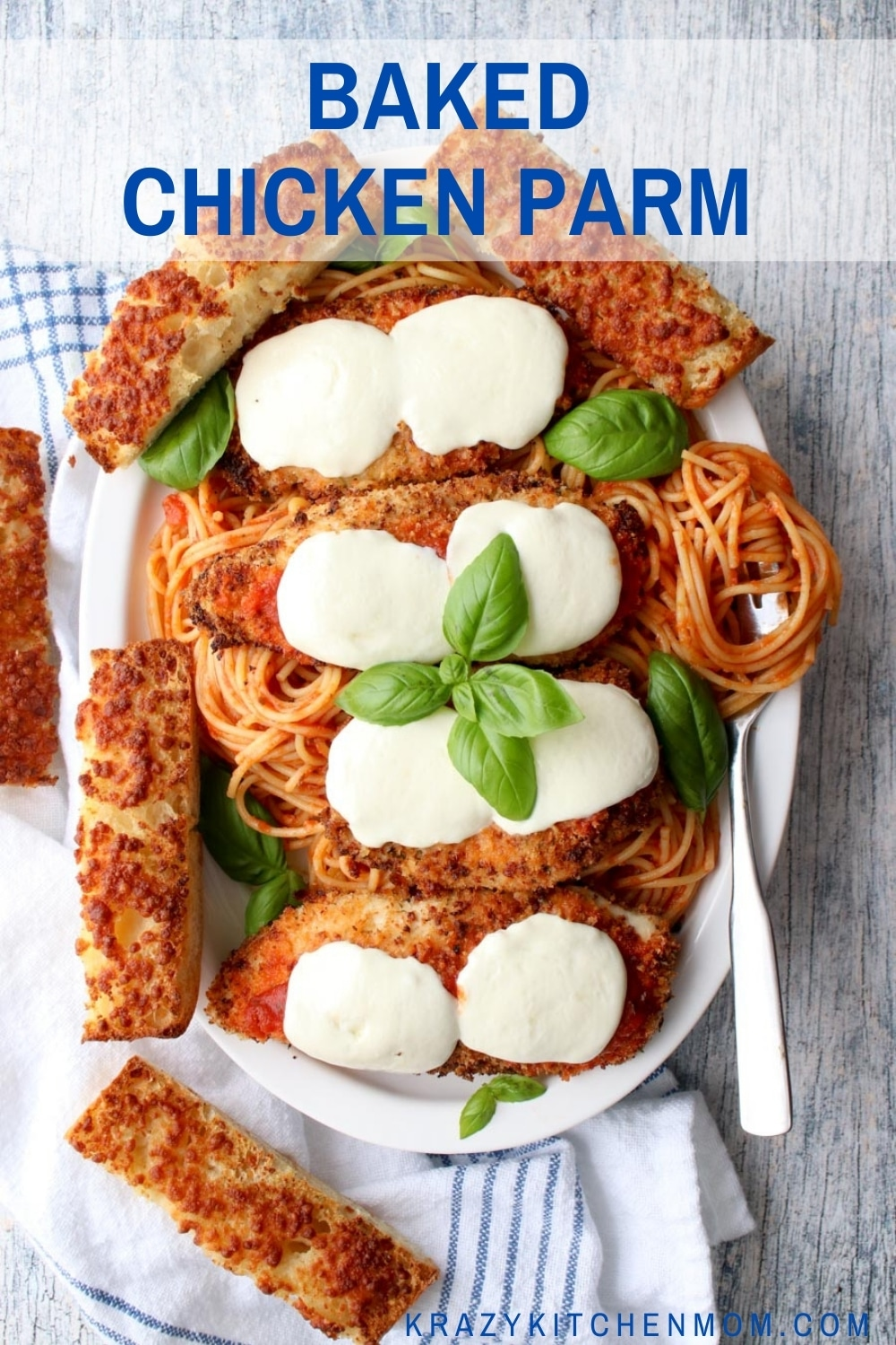 This is a healthier version of traditional chicken parmesan because it's baked and not fried. The chicken is crispy on the outside and moist and tender on the inside.  via @krazykitchenmom