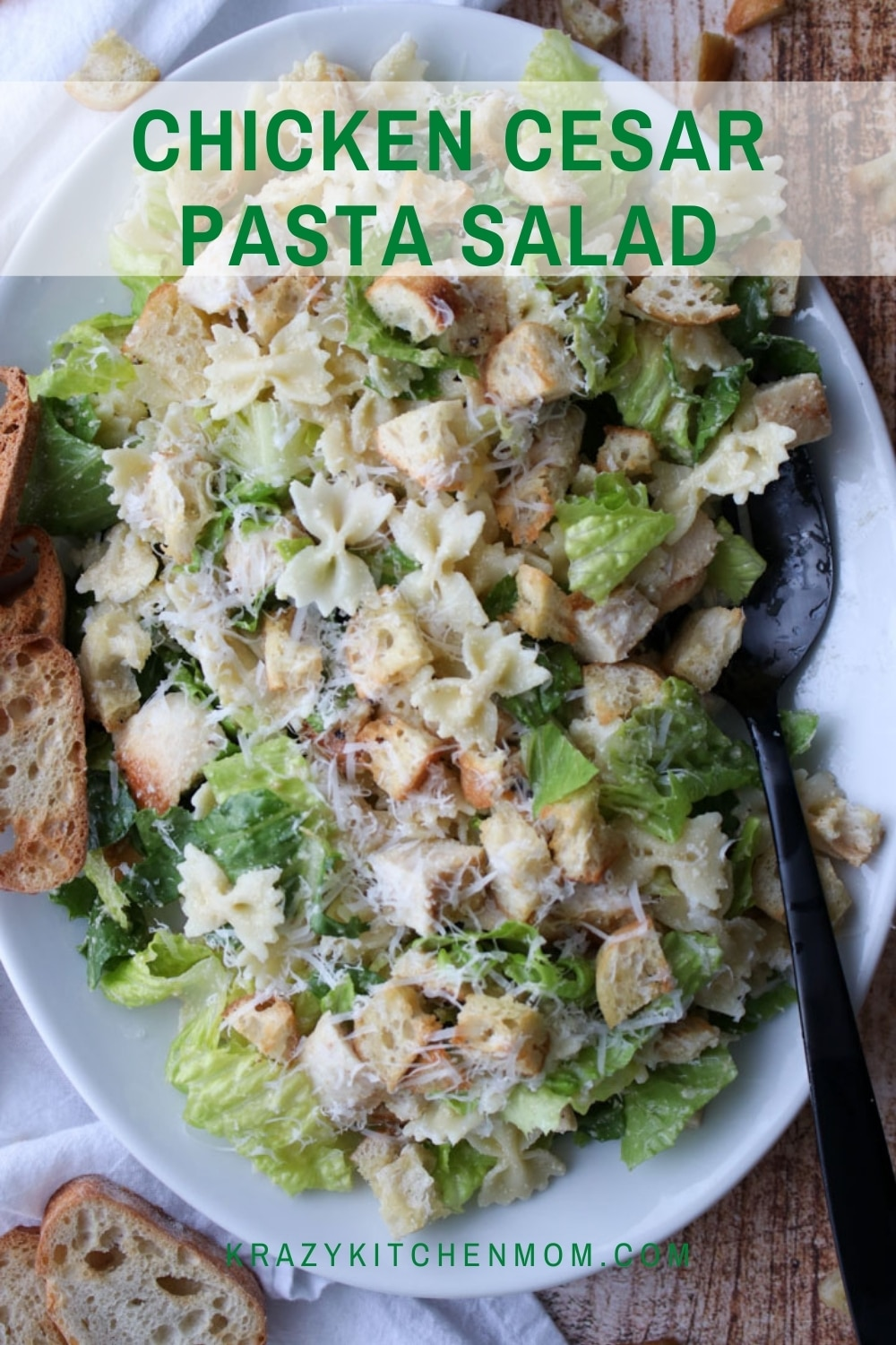 This salad platter is the perfect combination of a classic caesar salad with creamy satisfying farfalle pasta.  via @krazykitchenmom