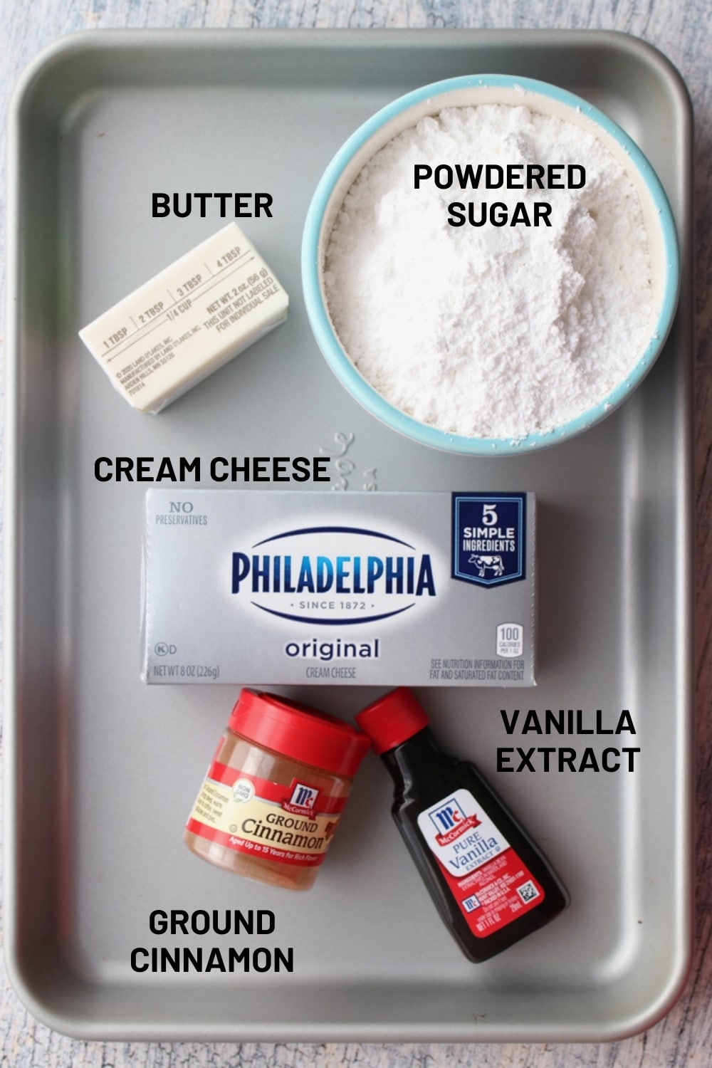 ingredients to make cinnamon cream cheese frosting