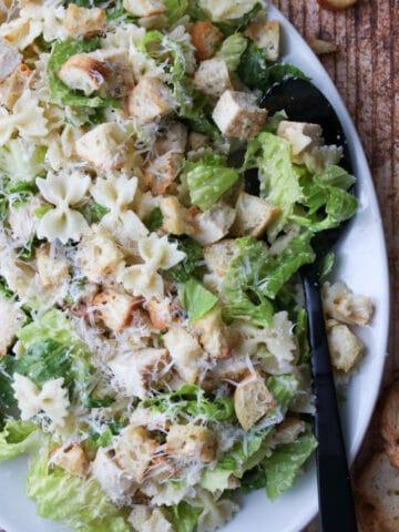 platter of chicken caesar pasta salad