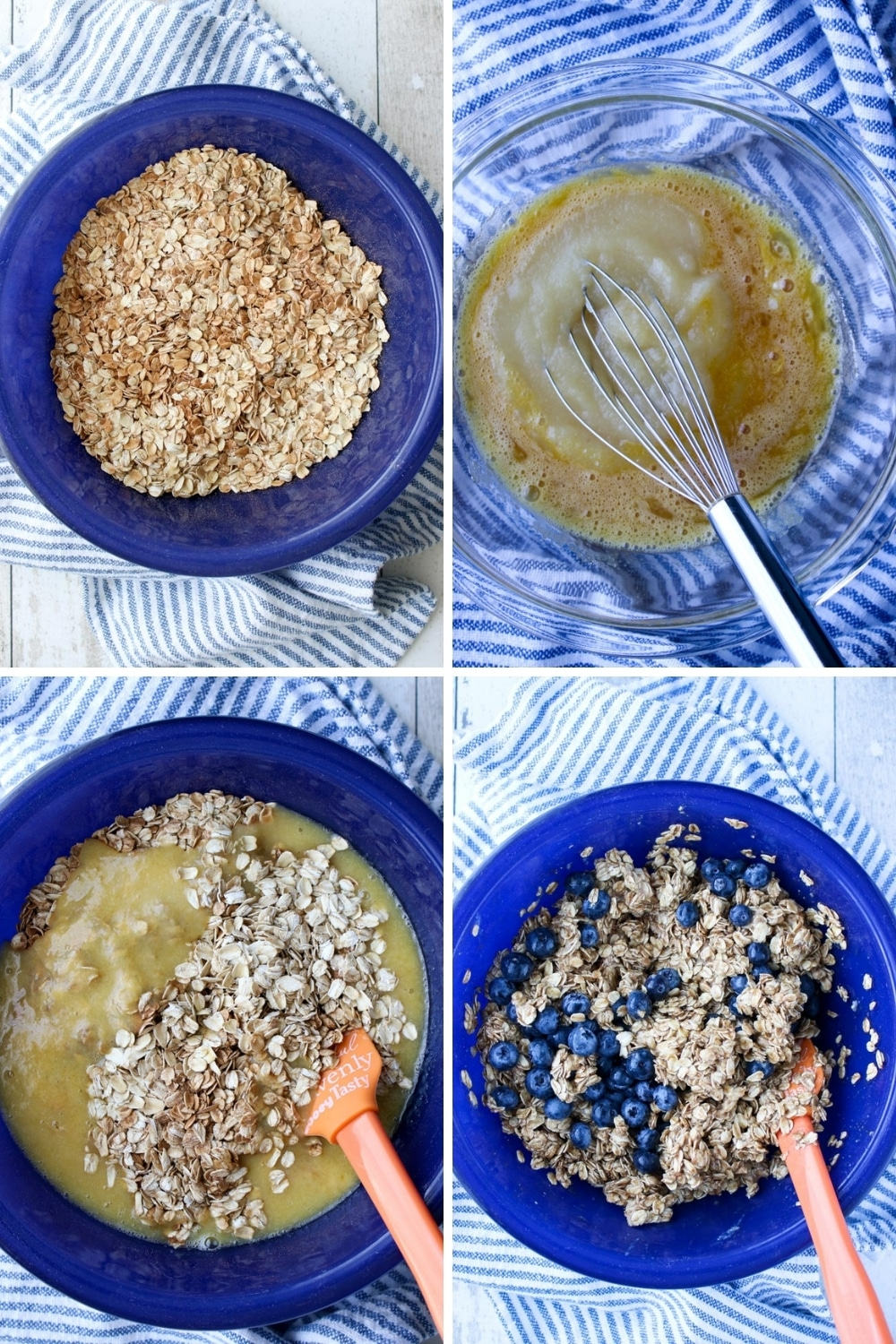 collage showing how to make blueberry baked oatmeal