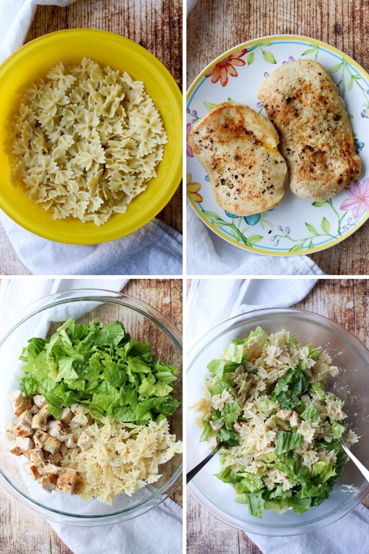 Collage showing how to make chicken caesar pasta salad