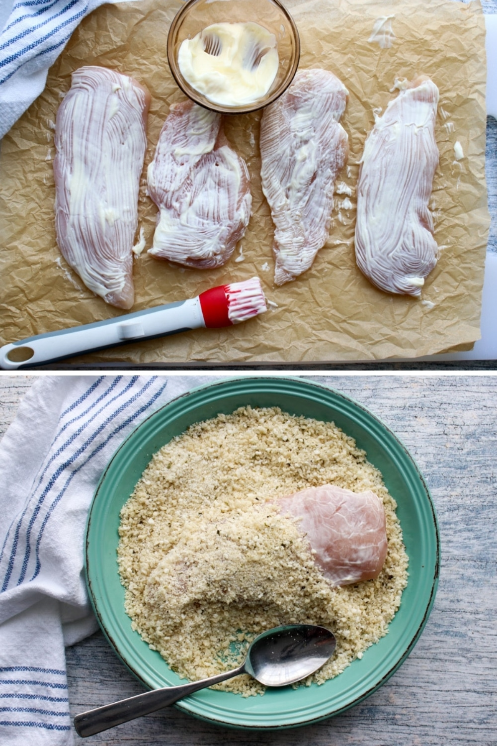 two photos showing how to add mayo and bread crumbs to chicken breasts