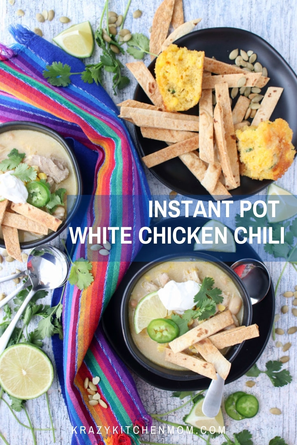 Cream white chicken chili is a great alternative to a red chili sauce. It's loaded with Tex-Mex flavors and is ready in less than 40 minutes. via @krazykitchenmom