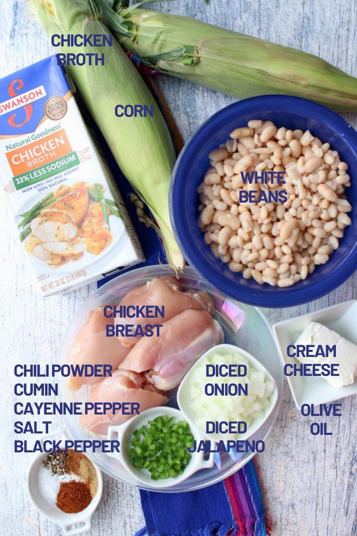 Ingredients to make white chicken chili