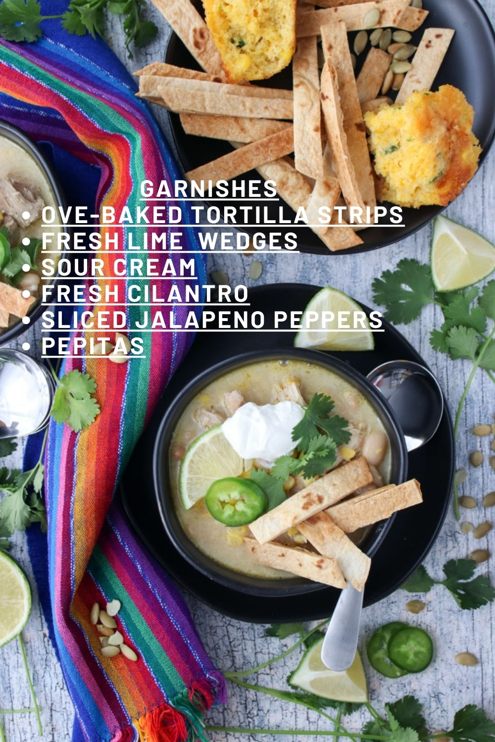 photo of white chicken chili with a list of garnishes