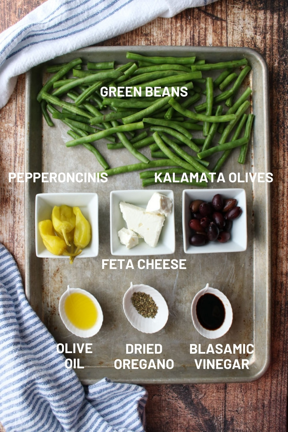 Tray with green bean ingredients